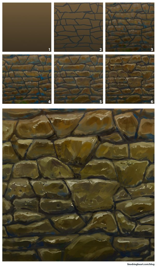 Paint A Stylized Stone Wall Texture Lino Drieghe