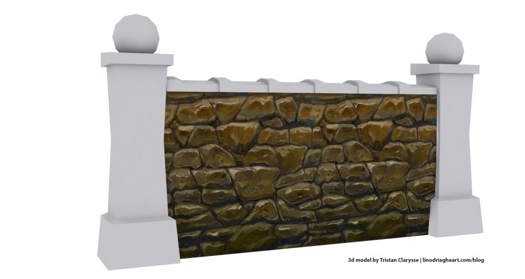 Paint a stylized stone wall texture