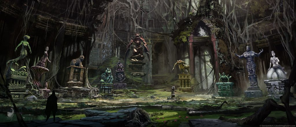 Central Chamber Environment Concept Painting - Process overview